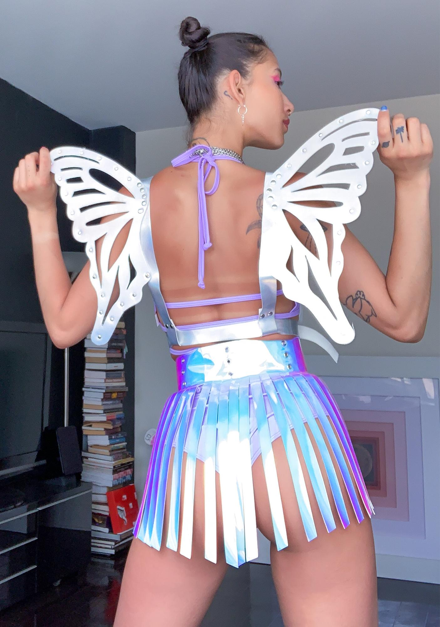 Daisy Corsets Silver Holographic Butterfly Wing Harness