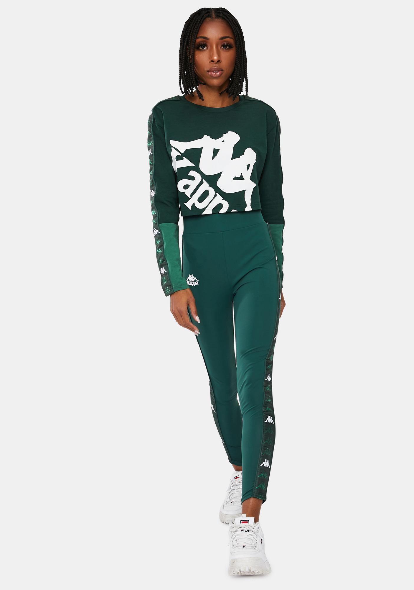 Kappa Green 222 Banda Baloys Long Sleeve Crop Top