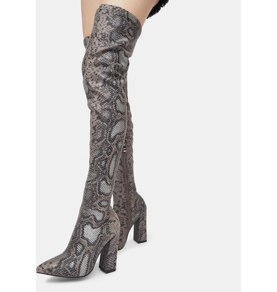 AZALEA WANG Grey Snake Real Recognize Real Boots