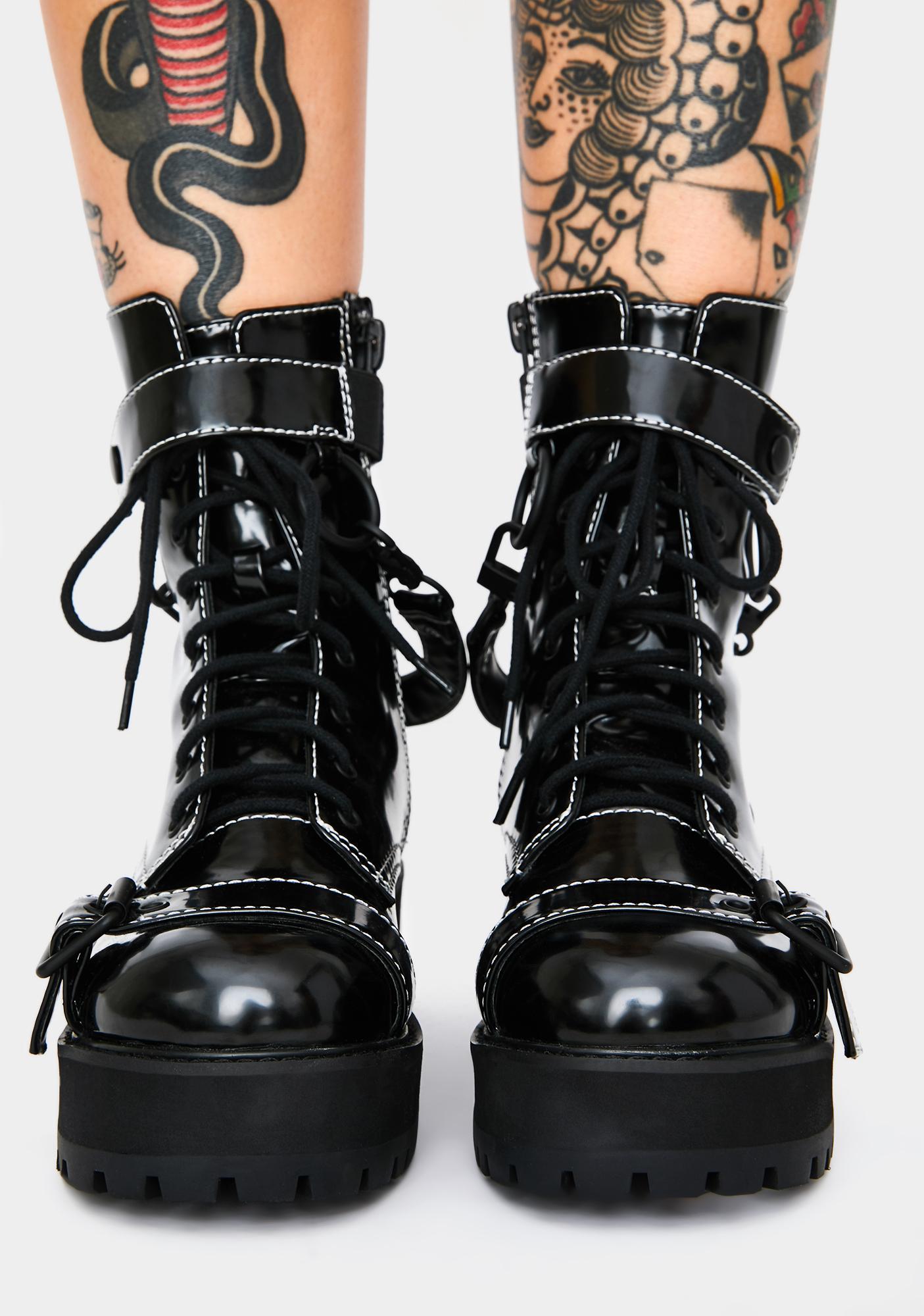 Current Mood Dangerous Disturbance Buckle Boots