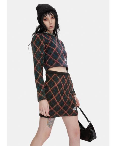 Bumps Argyle Knit Mini Skirt