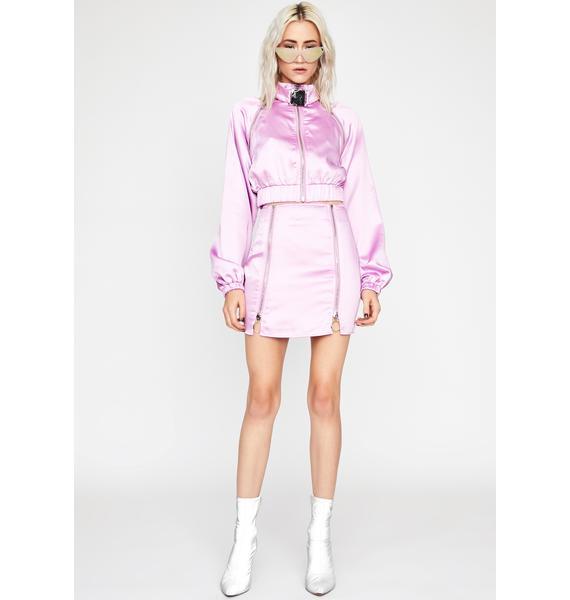 Lavender Fly Nation Bomber Skirt