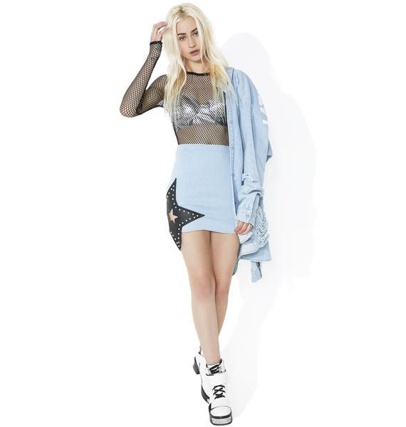 Underground Glam Denim Skirt