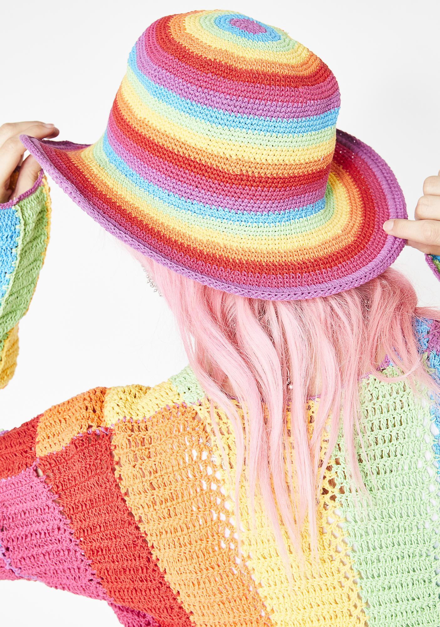 16ac5fa257 ... Fluffy Rainbow Floppy Hat