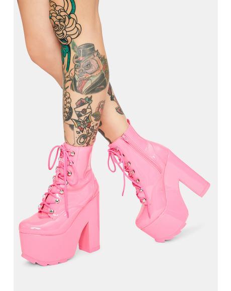 Night Terror Pink Patent Platform Boots
