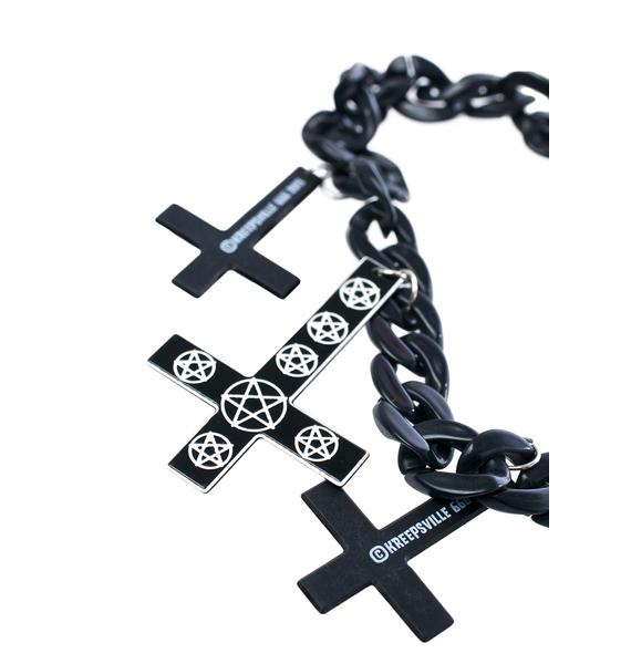 Kreepsville 666 Inverted Cross Pentagram Necklace