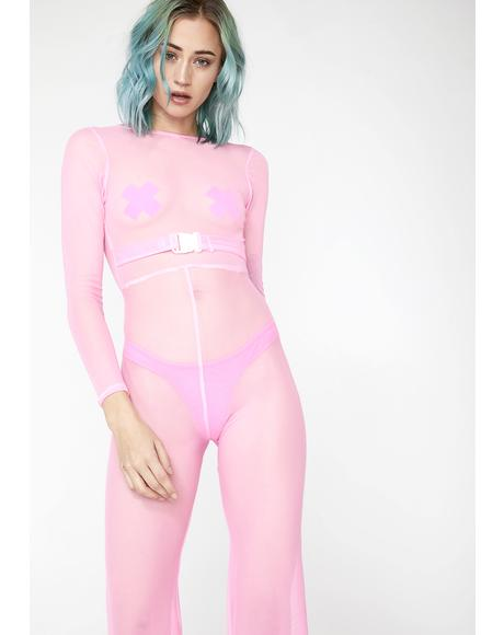 Barbie Pink Sheer Jumpsuit