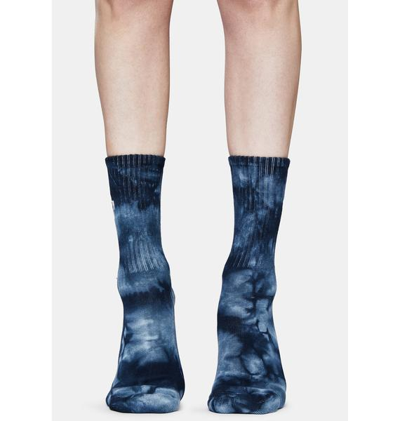 Petals and Peacocks Blue Daisy Tie Dye Embroidered Crew Socks