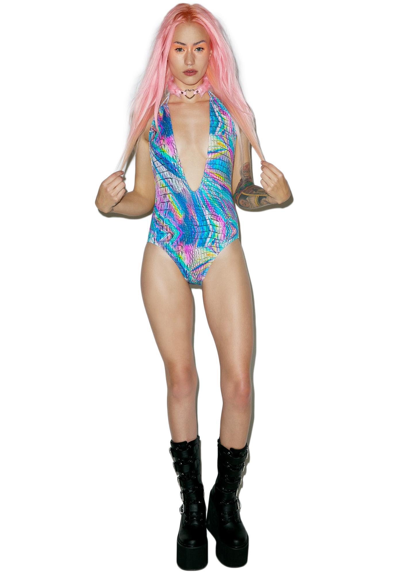 Jaded London Holographic Croc Print Plunge Swimsuit