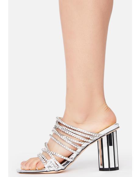 Silver Tendence Block Heels