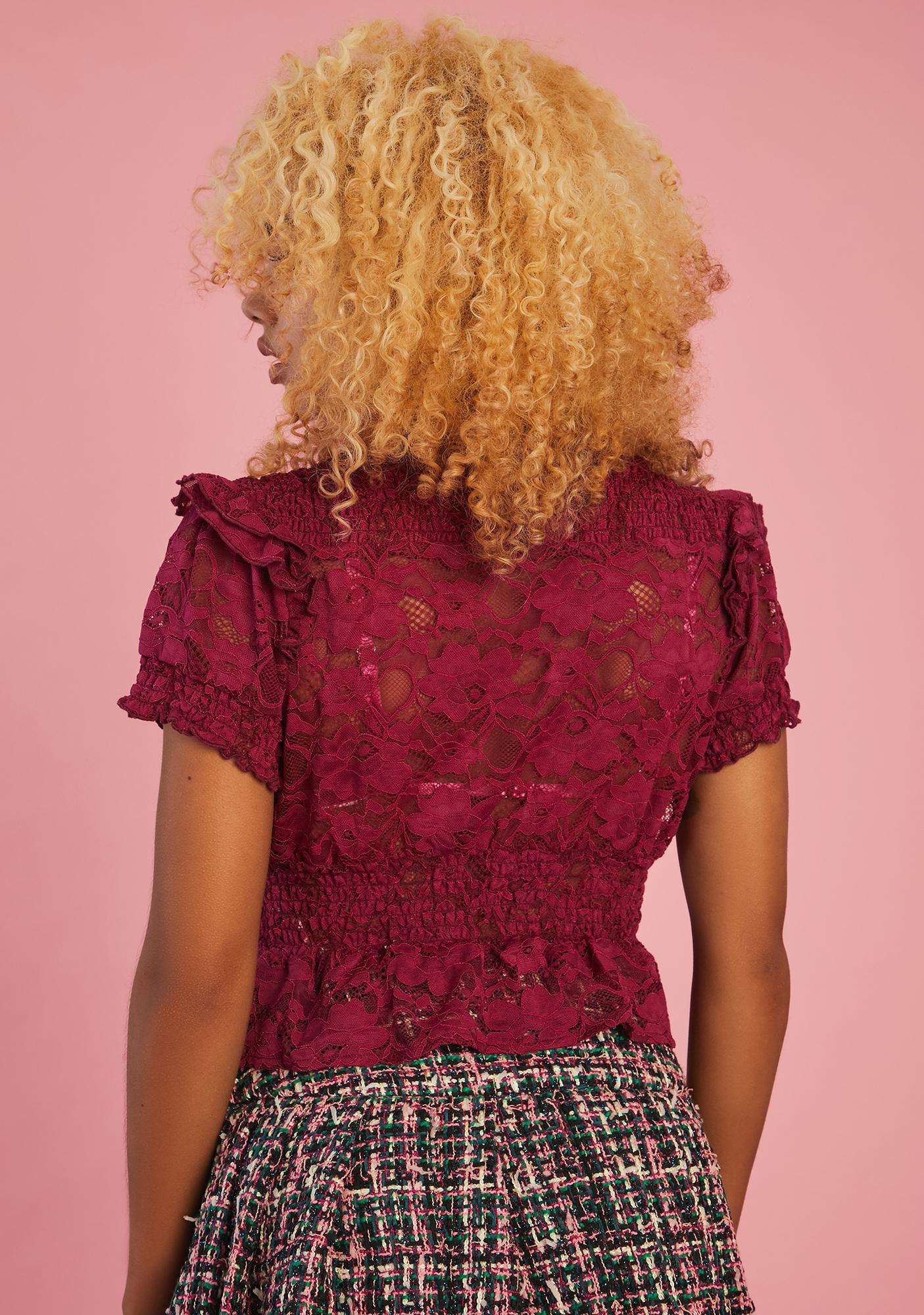Sugar Thrillz Mind Ur Manners Lace Blouse