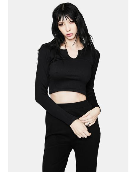 Night Goddess Problems Long Sleeve Crop Top