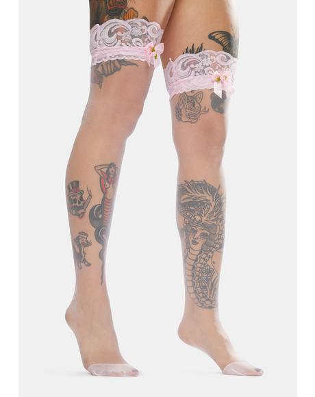 The Cuteness Sheer Thigh High Socks