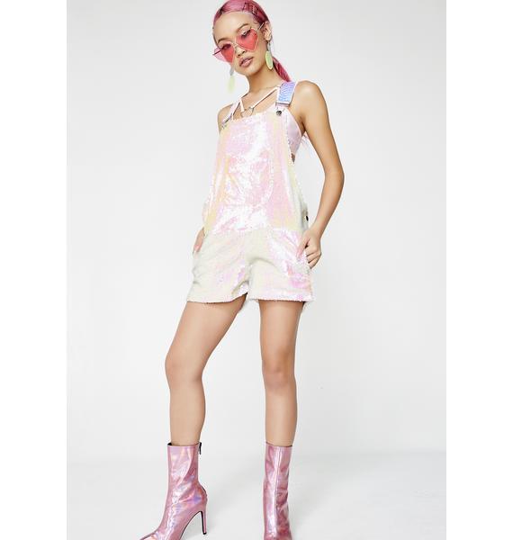 Jackalope Land Pink Unicorn Short Overalls