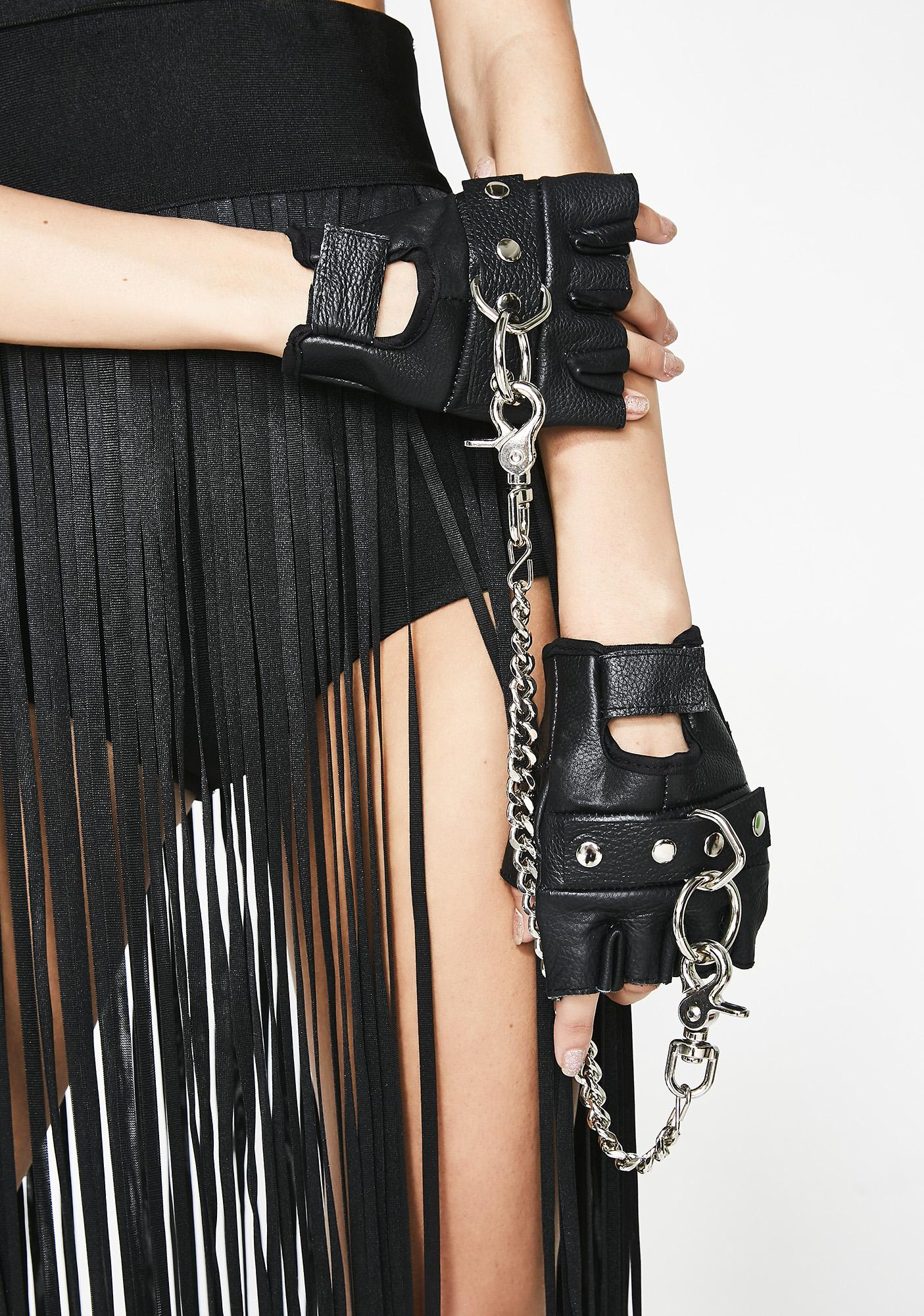 Kept Chained Fingerless Gloves