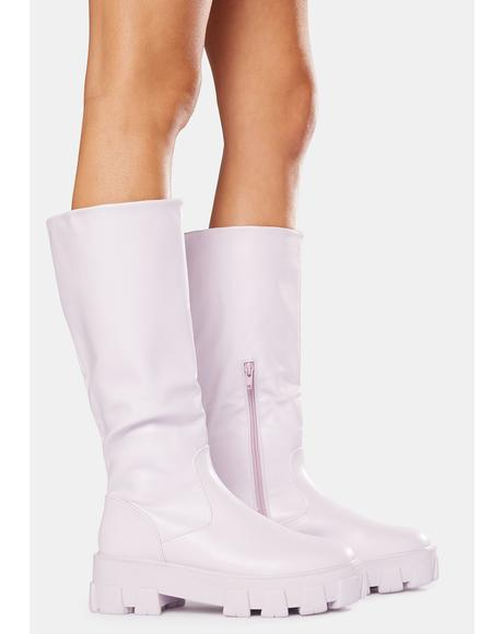 Lilac Karma Chunky Sole Knee High Boots
