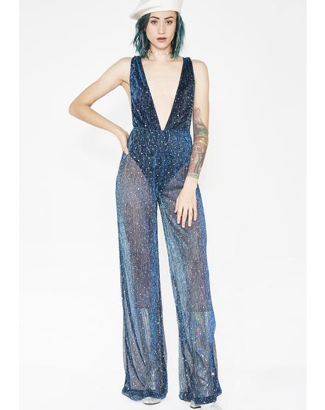 Diamante Shimmer Plunge Mesh Flared Catsuit