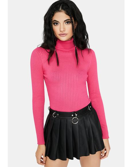 Fuschia Chic Secret Ribbed Turtleneck