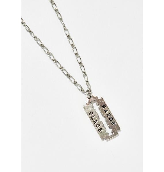 Shop Biohazard Razor Blade Necklace