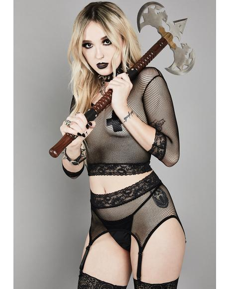 Cold Hearted Fishnet Garter Set