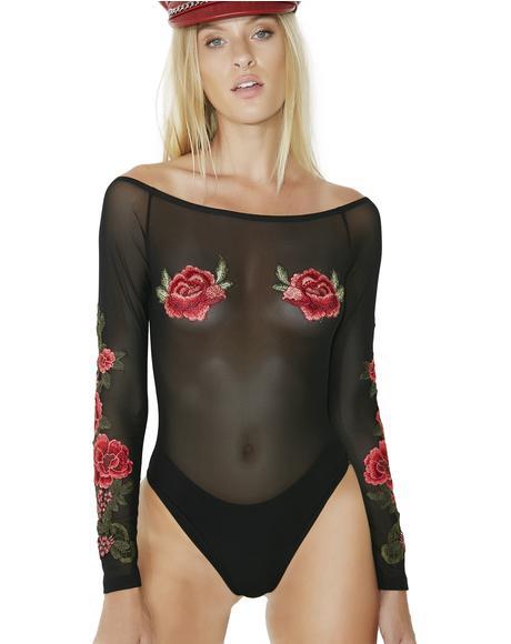 Falling Petals Sheer Bodysuit