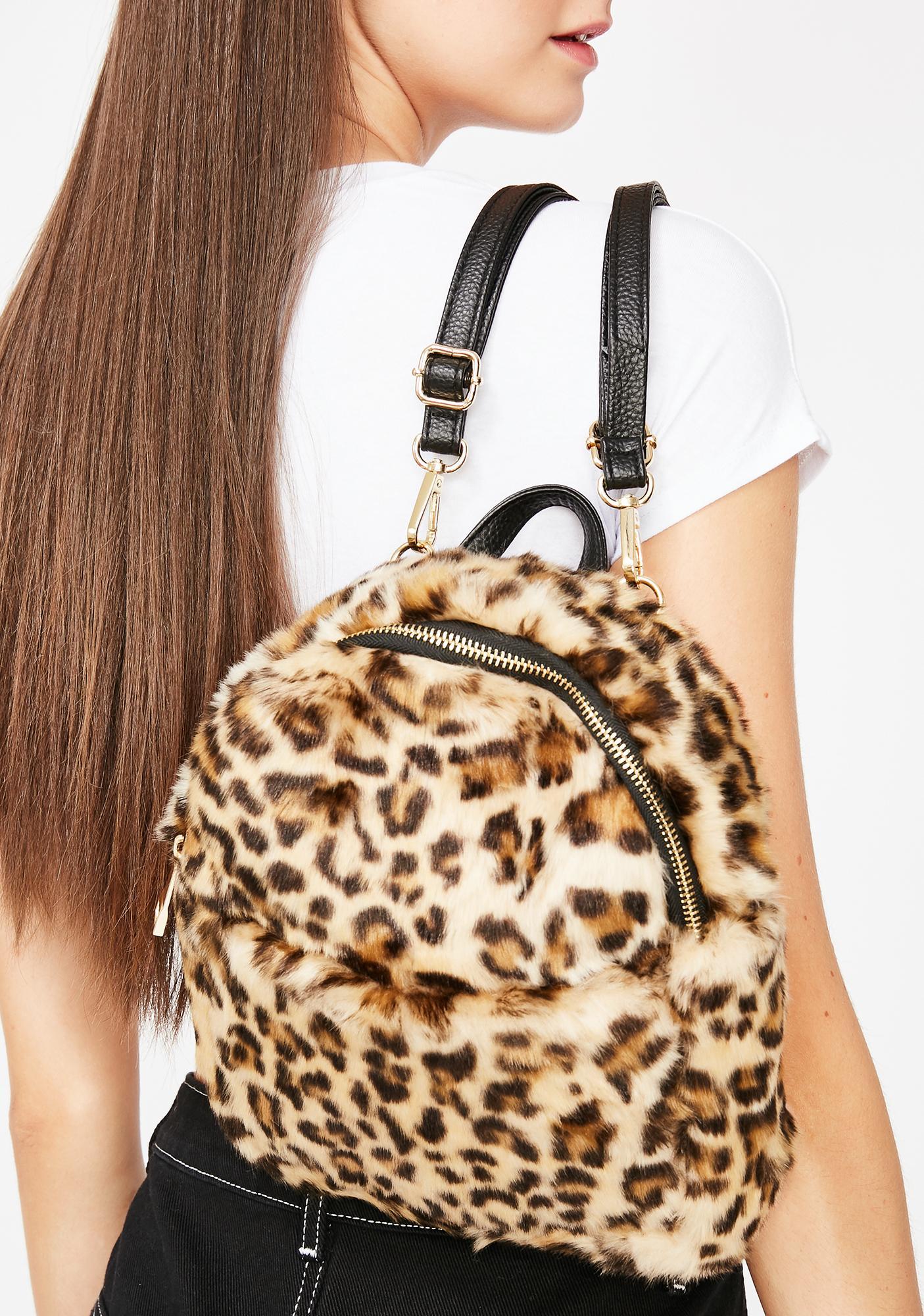 41b5a6b8e Leopard Fuzzy Mini Backpack | Dolls Kill