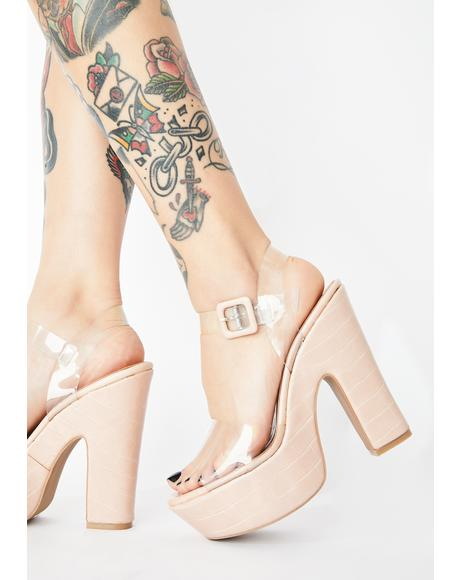 Nude Full Of It Platform Heels