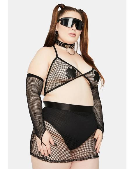 She's Techno Sexual Fishnet Skirt Set
