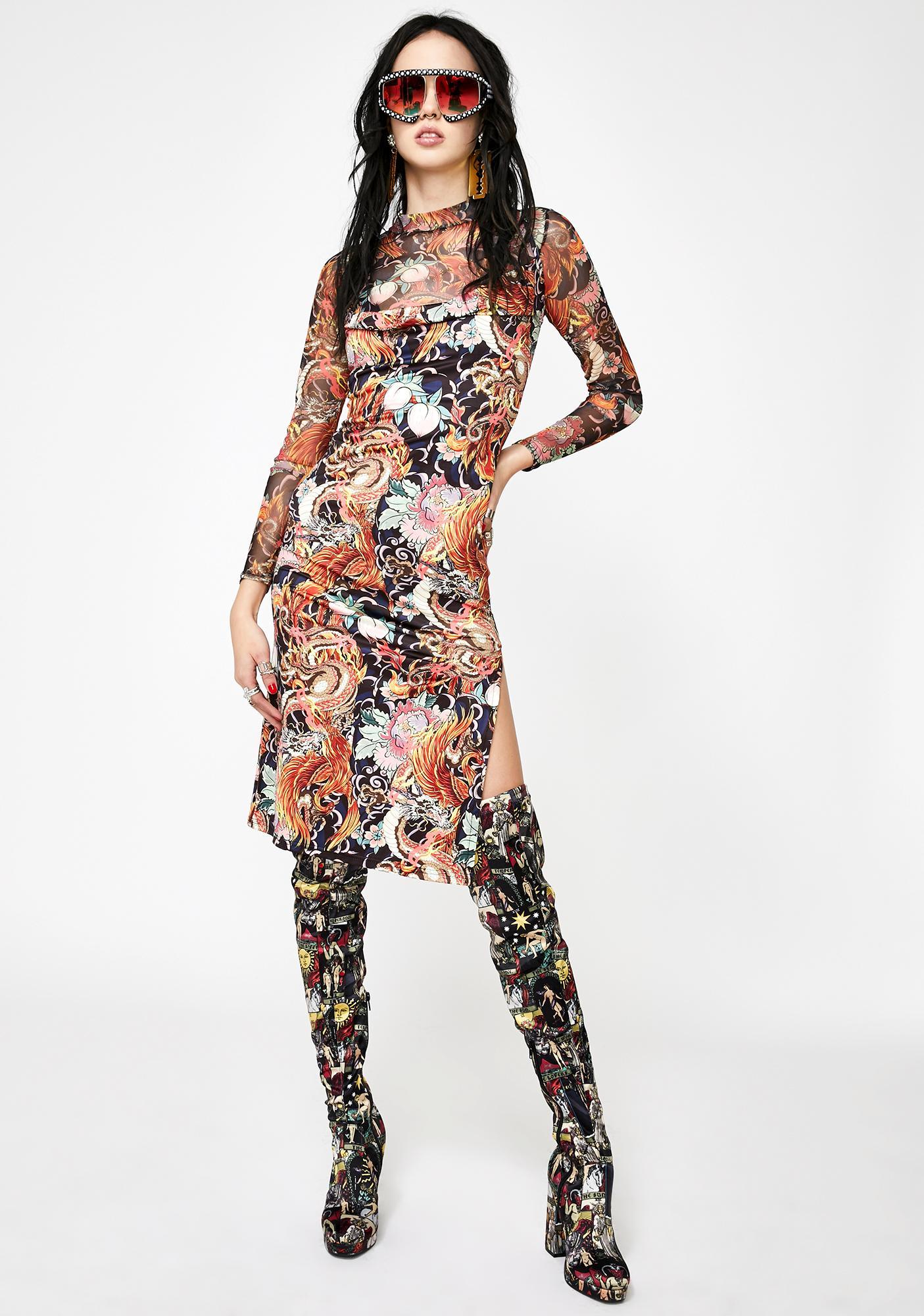 NEW GIRL ORDER Phoenix Dragon Print Slip Dress
