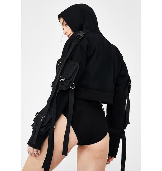 Namilia Crop Hoodie With Detachable Tactical Pocket Cage