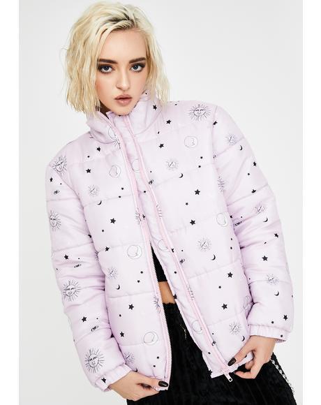 Tarot Print Puffer Jacket