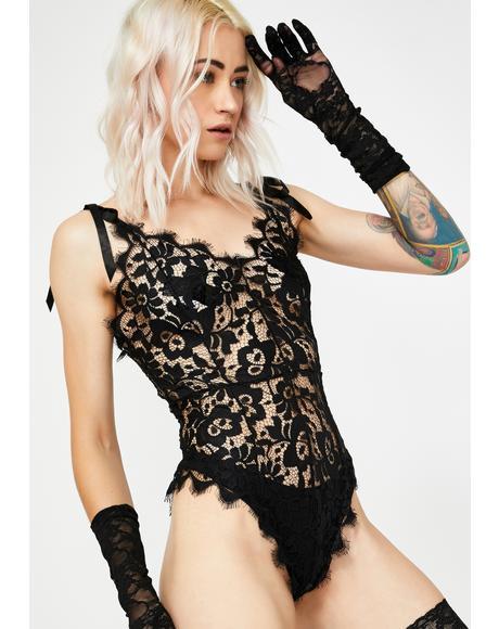 Lace Tie Straps Cami Bodysuit