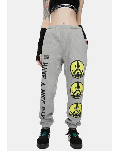 Gray Smiley Ball Gag Sweatpants