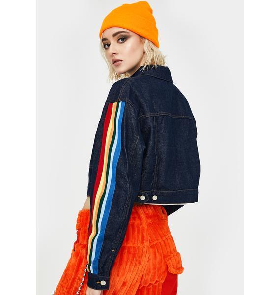 Honey Punch Rainbow Stripe Sleeve Denim Jacket