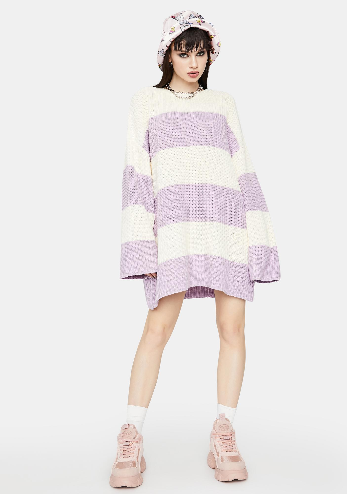 Lilac Miss Those Days Striped Sweater
