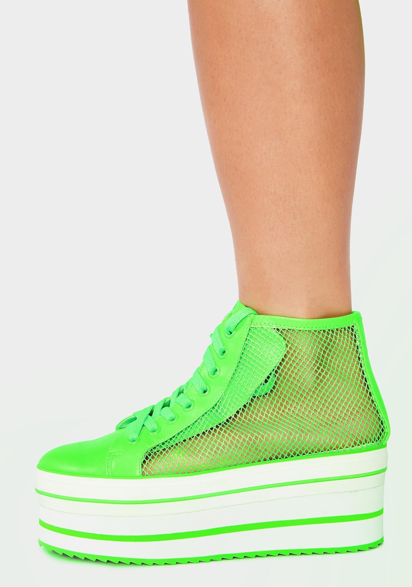 Y.R.U. Neon Green Elevation Mesh Platform Sneakers