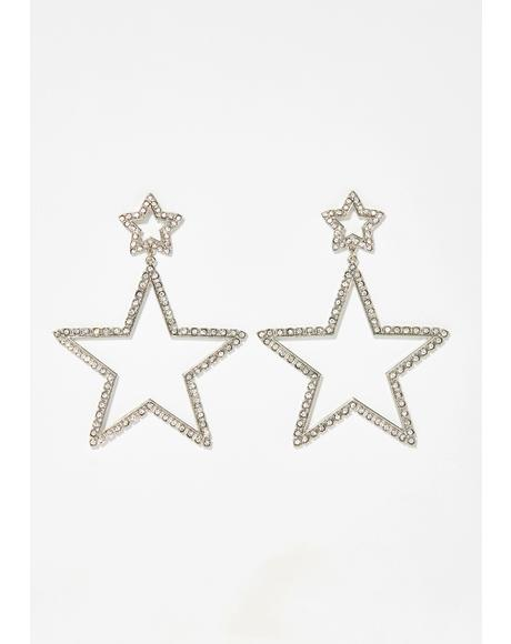Star Attitude Rhinestone Earrings