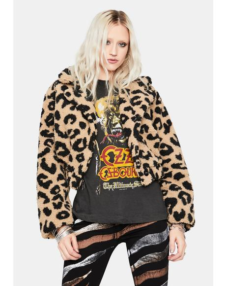 Taupe Livelong Leopard Fluffy Crop Jacket