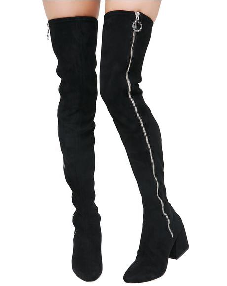 Vix Zip-Up Over The Knee Boots