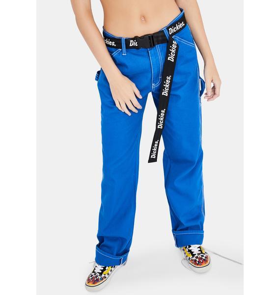 Dickies Girl Blue Belted Carpenter Pants