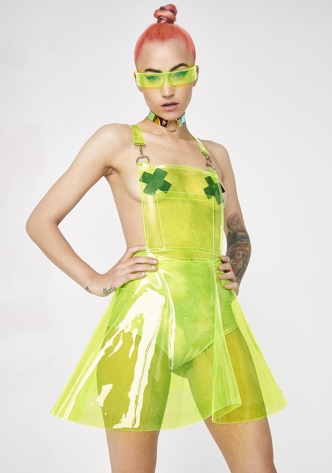 Club Exx Go Gurl Green Overall Dress