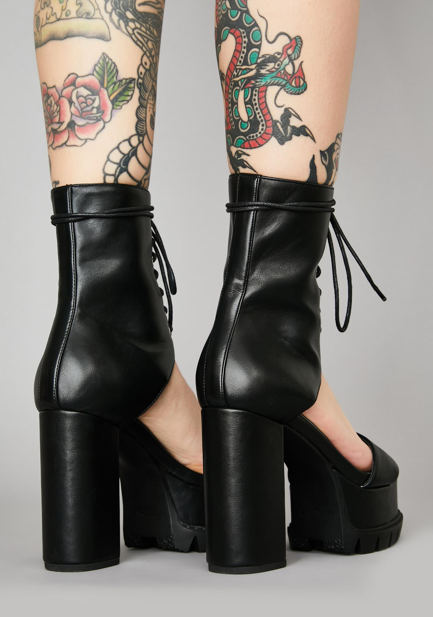 Widow Shadow Overhead Lace Up Heels