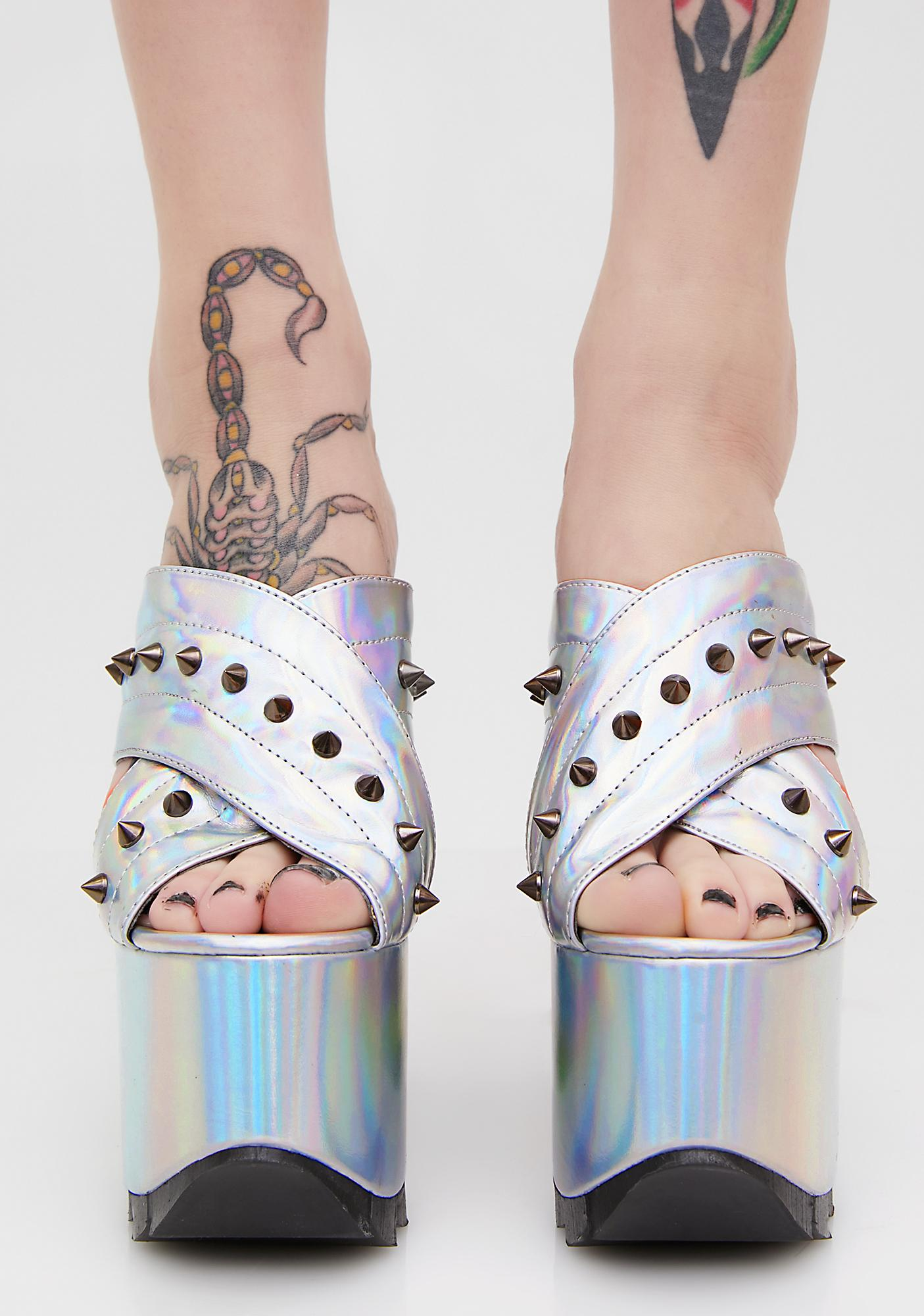 Demonia Studded Criss-Cross Platform Slide Sandals