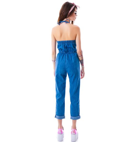 Wildfox Couture Kiera Daybreak Denim Jumpsuit