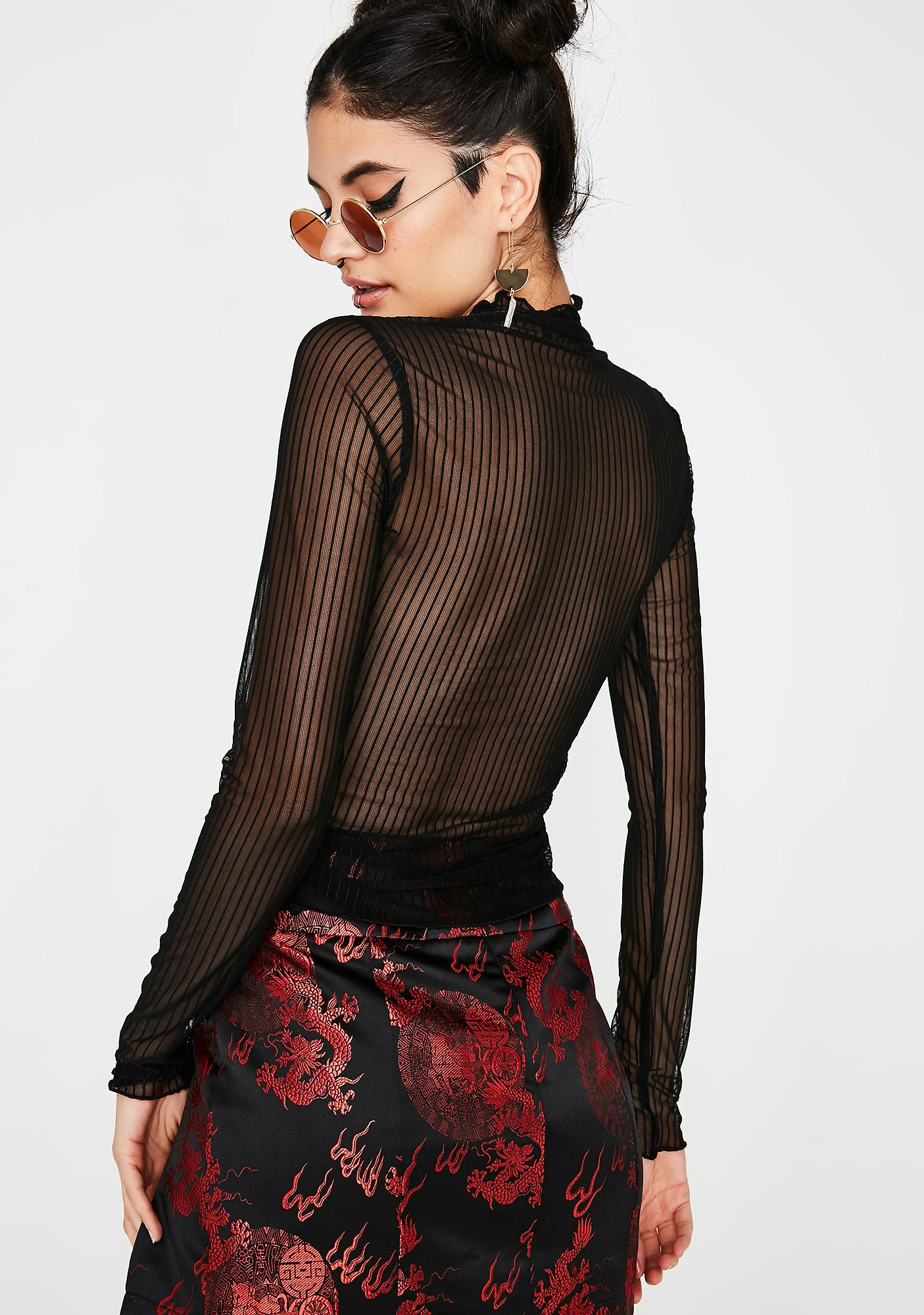 Dark Strung Up Mesh Top
