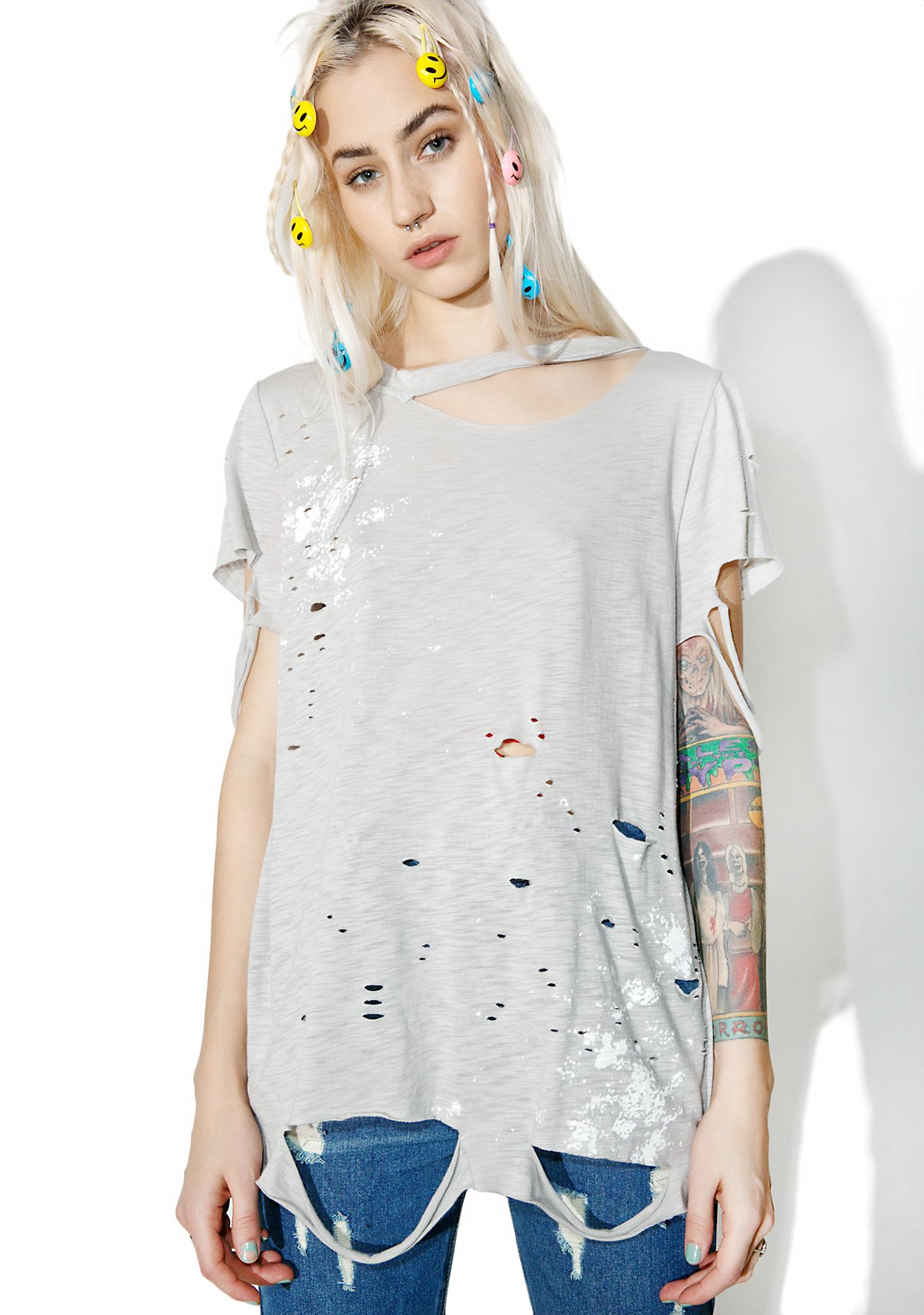 Distressed paint splatter t shirt dolls kill for How to make a distressed shirt