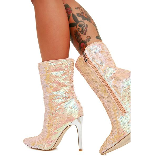 Poppin' Champagne Sequin Booties