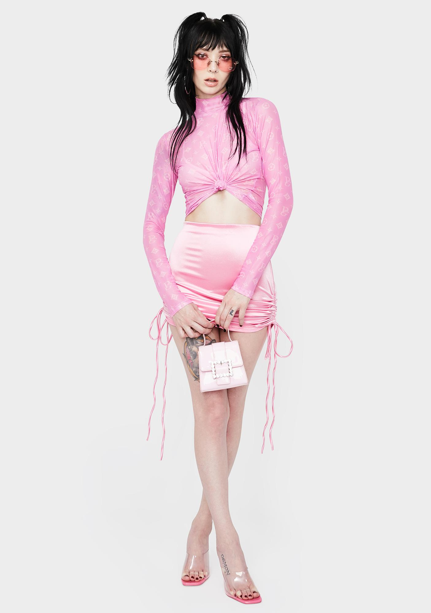 Kiki Riki Candy Pampered & Perfect Ruched Satin Skirt