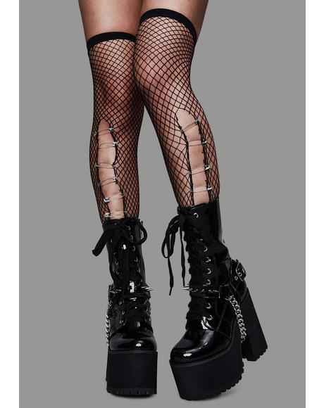 I Write Sins Fishnet Thigh Highs