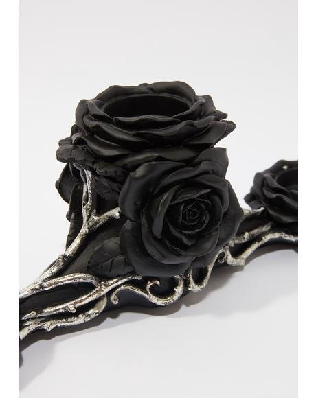 Black Rose Triple Tealight Holder